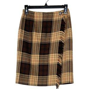 Vintage Rafaella Worsted Wool Tan Plaid Skirt 6